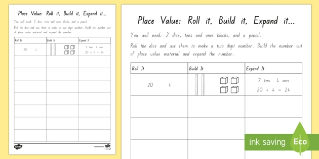 Place Value   Roll it, Build it, Expand it Activity Sheet - New Zealand Maths Worksheets, place value, maths games, dice