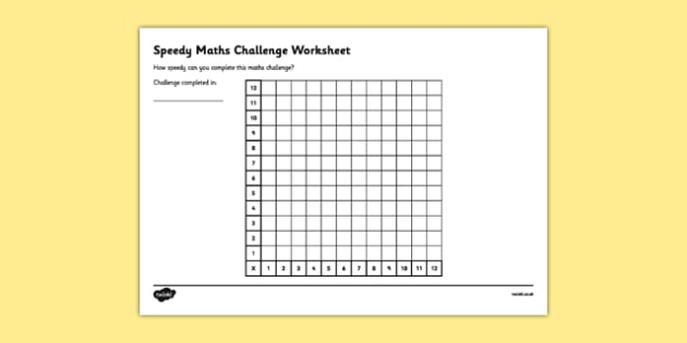 Speedy Maths Challenge Worksheet 1 - maths challenge, maths challenge worksheet, times tables, times tables challenge, timed maths challenge, ks2 numeracy