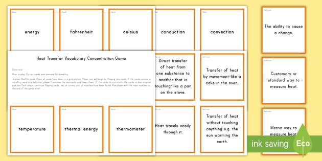 Heat Energy Concentration Matching Game - Science Concentration Games, Body Systems, Earth and Sun, Ecology, Weather and Climate, Heat Energy,