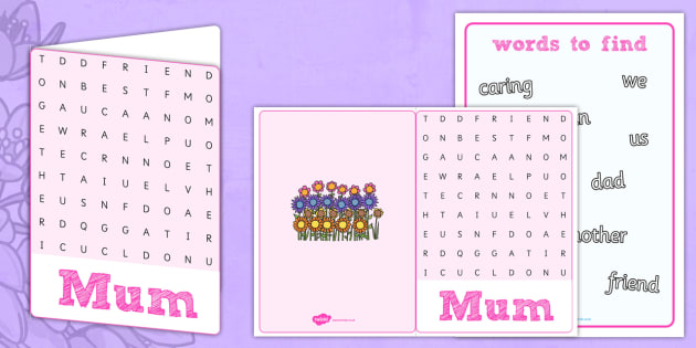Mother's Day Word Search Card - mothers day, word search, card