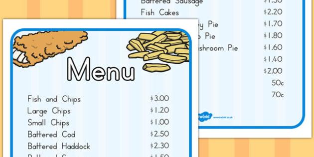 Fish and Chip Shop Menu - menus, takeaway, chip, shops, food