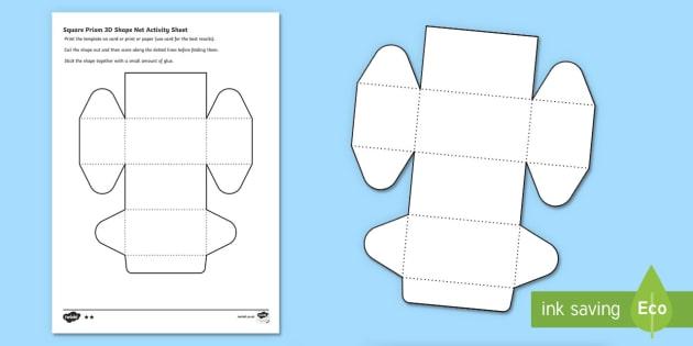 Square Prism 3D shape net Activity Sheet