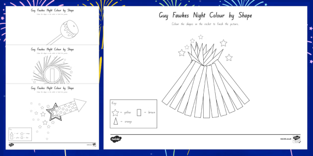 Guy Fawkes Night Colour by 2D Shape Activity Sheets