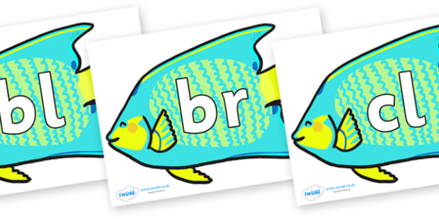 Initial Letter Blends on Angel Fish - Initial Letters, initial letter, letter blend, letter blends, consonant, consonants, digraph, trigraph, literacy, alphabet, letters, foundation stage literacy