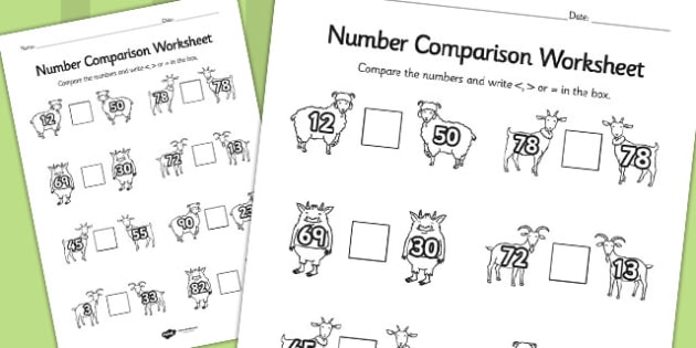 The Three Billy Goats Gruff Number Comparison Worksheets - goats