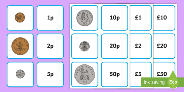 Coin and Note Value Matching Card Activity - coin, note, value, matching, card, activity