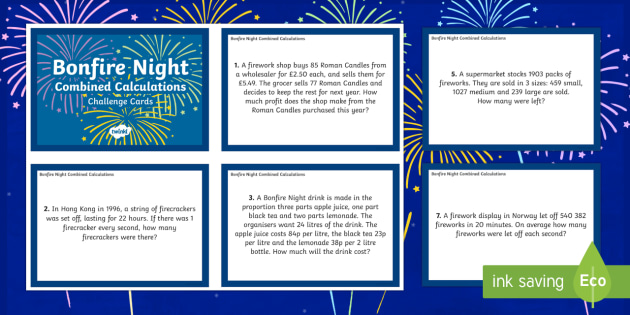 UKS2 Combined Calculations Bonfire Night Maths Challenge Cards