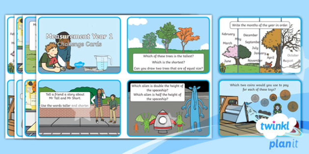 PlanIt Y1 Measurement Challenge Cards - Measurement, Year 1, KS1, challenge cards, maths challenge, problem solving, length, height, size, w