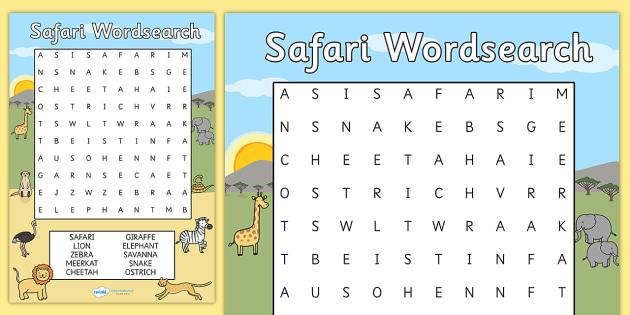 Safari Wordsearch - safari, safari wordsearch, safari games, safari activities, on safari, safari word games, safari key words, safari words