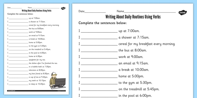 Writing About Daily Routines Using Verbs Worksheet - verbs, sheet