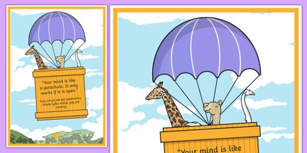 Your Mind is Like a Parachute Motivational Poster Polish Translation - polish, motivational