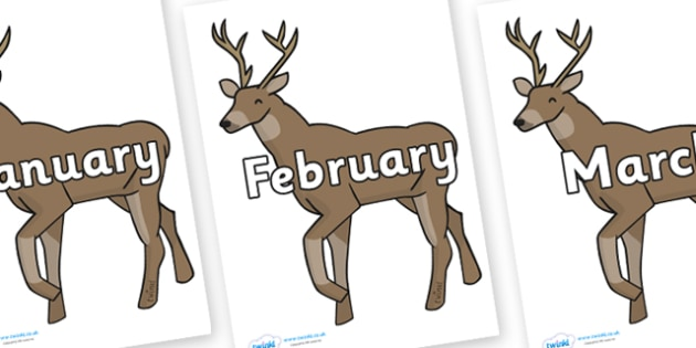 Months of the Year on Stags - Months of the Year, Months poster, Months display, display, poster, frieze, Months, month, January, February, March, April, May, June, July, August, September