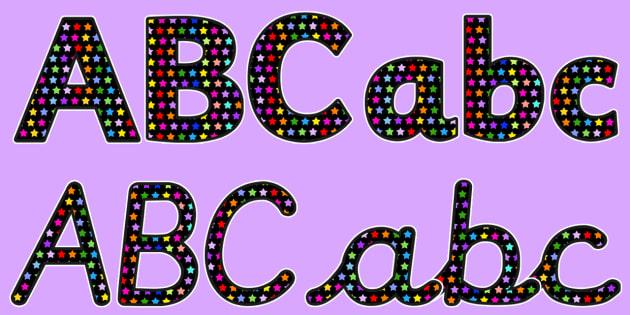 MulticolouredStar Themed Size Editable Display Lettering
