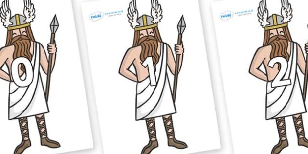 Numbers 0-31 on Viking Gods - 0-31, foundation stage numeracy, Number recognition, Number flashcards, counting, number frieze, Display numbers, number posters