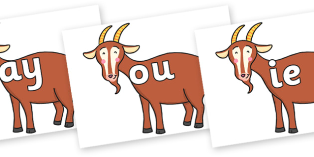 Phase 5 Phonemes on Hullabaloo Goat to Support Teaching on Farmyard Hullabaloo - Phonemes, phoneme, Phase 5, Phase five, Foundation, Literacy, Letters and Sounds, DfES, display