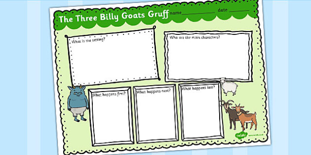 The Three Billy Goats Gruff Story Review Writing Frame - writing