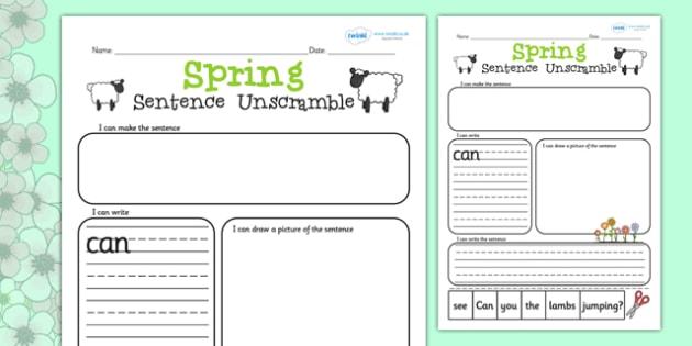 Sentence Unscramble Worksheets spring sentence game – Unscramble Sentences Worksheets