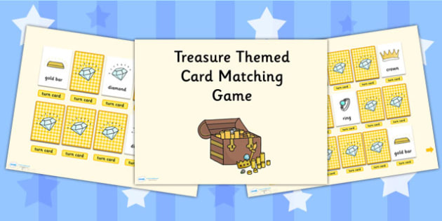 Treasure Card Matching Activity PowerPoint - treasure, card match