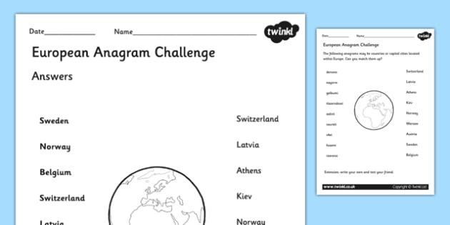 European Anagram Challenge Activity - europe, geogrpahy, anagrams