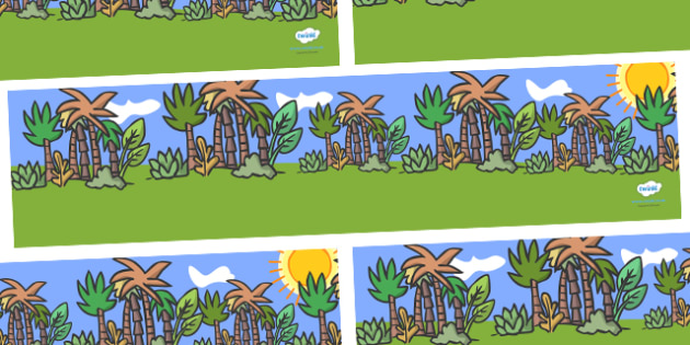 Jungle Animal Themed Small World Background - walking through the jungle, animals, story, book, backdrop, background, scenery, small world area, small world display, small world resources, jungle, animal, lion, tiger, elephant, snake monkey, cr