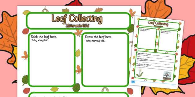 Leaf Collecting Writing Frame Polish Translation - polish, leaf collecting
