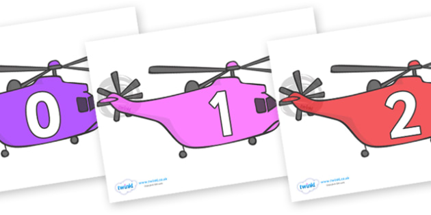Numbers 0-31 on Helicopters - 0-31, foundation stage numeracy, Number recognition, Number flashcards, counting, number frieze, Display numbers, number posters