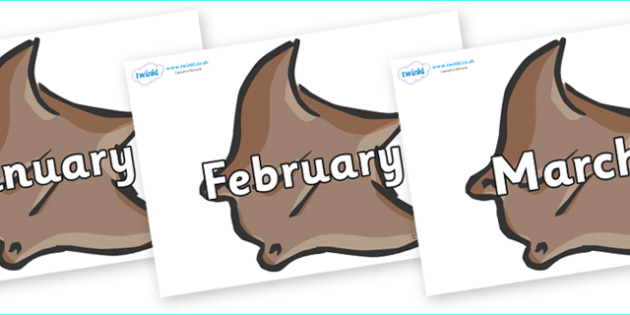 Months of the Year on Manta Rays - Months of the Year, Months poster, Months display, display, poster, frieze, Months, month, January, February, March, April, May, June, July, August, September