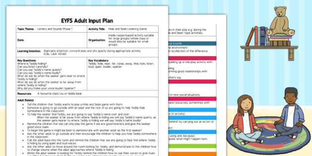 Hide and Seek Listening Game EYFS Adult Input Plan - input, plan
