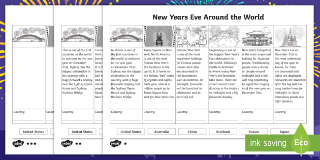 New Years Eve Around the World Differentiated Activity Sheets - Celebrations, annual, seasons, calendar, birthday, new years eve