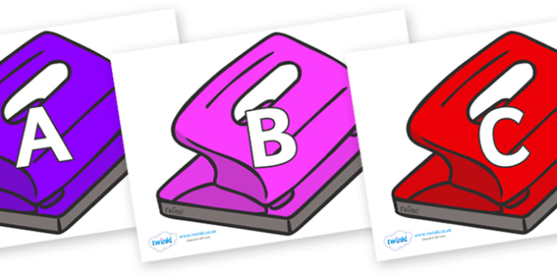 A-Z Alphabet on Hole Punch - A-Z, A4, display, Alphabet frieze, Display letters, Letter posters, A-Z letters, Alphabet flashcards