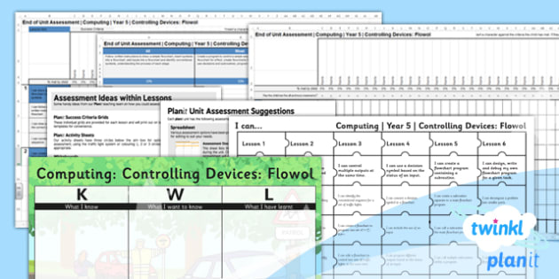 PlanIt - Computing Year 5 - Controlling Devices Flowol Unit Assessment Pack - planit, computing, year 5, assessment, pack