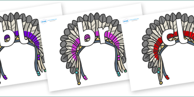 Initial Letter Blends on Headdresses - Initial Letters, initial letter, letter blend, letter blends, consonant, consonants, digraph, trigraph, literacy, alphabet, letters, foundation stage literacy