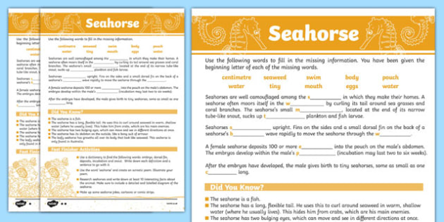 Australian Animals Years 3-6 Seahorse Differentiated Cloze Passage Activity Sheet - australia, Australian Curriculum, animals, fish, differentiated, cloze, fast finisher, information, reading,austrailia,austrila,australua,austraila,aniamls,,cloze pro