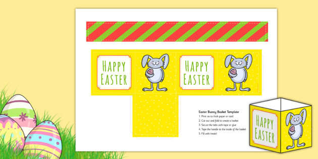 Easter Bunny Basket Colouring Activity - easter bunny, easter, rabbit