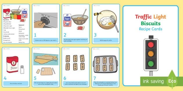 Traffic Light Biscuit Recipe Cards - biscuit, recipe, traffic light biscuits, biscuits, baking, bake, traffic light, traffic lights, smarties, cooking, cooking area