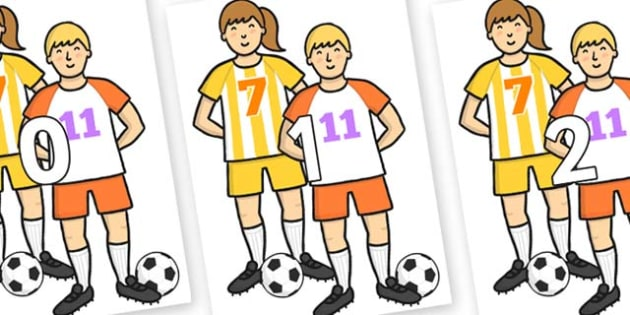 Numbers 0-50 on Players - 0-50, foundation stage numeracy, Number recognition, Number flashcards, counting, number frieze, Display numbers, number posters