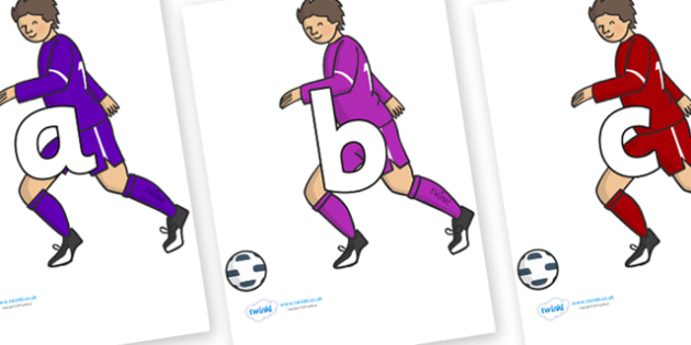Phoneme Set on Football Players - Phoneme set, phonemes, phoneme, Letters and Sounds, DfES, display, Phase 1, Phase 2, Phase 3, Phase 5, Foundation, Literacy