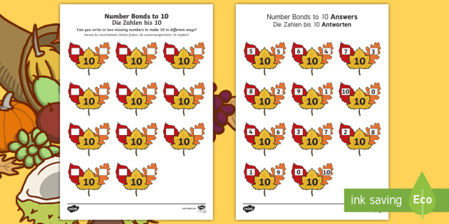 Autumn Leaf Number Bonds to 10 Activity Sheet English/German - numeracy, addition, number bonds, addition pairs, maths, EAL, German,,German-translation