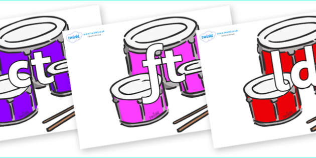 Final Letter Blends on Drums - Final Letters, final letter, letter blend, letter blends, consonant, consonants, digraph, trigraph, literacy, alphabet, letters, foundation stage literacy