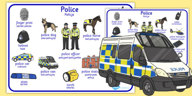 Police Word Mat Polish Translation - polish, police, word mat