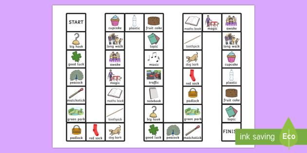 Two Syllable Final 'K' Sound Board Game - syllable, final k, sound