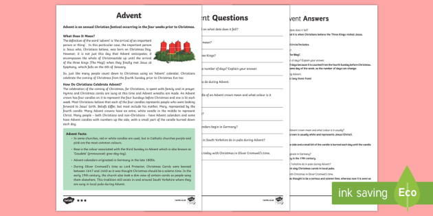 Advent KS2 Differentiated Reading Comprehension Activity