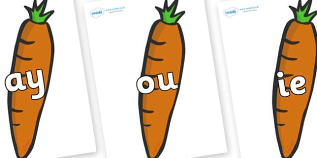 Phase 5 Phonemes on Carrots - Phonemes, phoneme, Phase 5, Phase five, Foundation, Literacy, Letters and Sounds, DfES, display