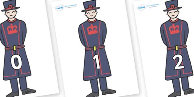 Numbers 0-50 on Beefeaters - 0-50, foundation stage numeracy, Number recognition, Number flashcards, counting, number frieze, Display numbers, number posters