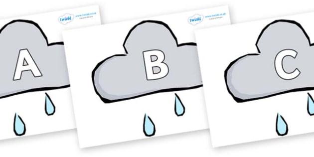 A-Z Alphabet on Weather Symbols (Rain) - A-Z, A4, display, Alphabet frieze, Display letters, Letter posters, A-Z letters, Alphabet flashcards