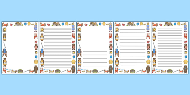 page borders goldilocks and the three bears full page borders page border