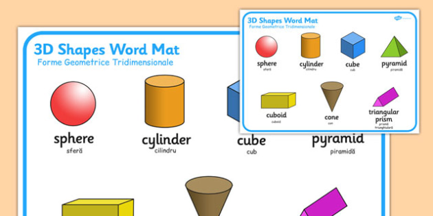3D Shape Word Mat Romanian Translation
