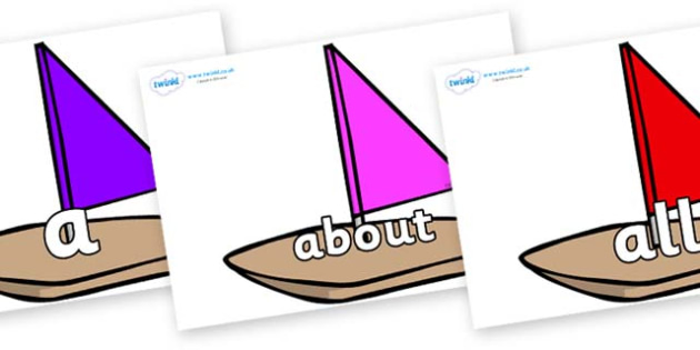 100 High Frequency Words on Toy Boats - High frequency words, hfw, DfES Letters and Sounds, Letters and Sounds, display words