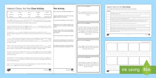 Hobson's Choice Plot Activity Pack - Hobson's Choice, plot summary, Henry Hobson, Maggie Hobson, Alice Hobson, Vickey Hobson, Tubby Wadl