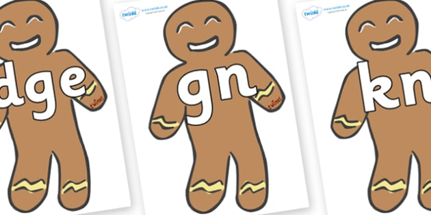 Silent Letters on Gingerbread Men - Silent Letters, silent letter, letter blend, consonant, consonants, digraph, trigraph, A-Z letters, literacy, alphabet, letters, alternative sounds